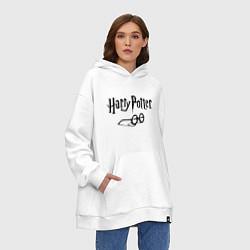 Толстовка-худи оверсайз Гарри Поттер цвета белый — фото 2