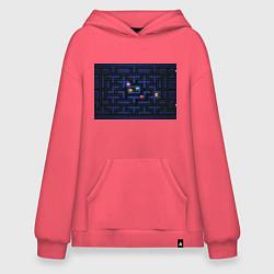 Толстовка-худи оверсайз Pacman цвета коралловый — фото 1