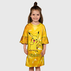 Платье клеш для девочки Pikachu цвета 3D-принт — фото 2