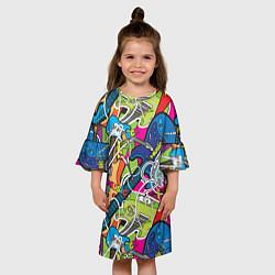 Платье клеш для девочки POP ART цвета 3D-принт — фото 2
