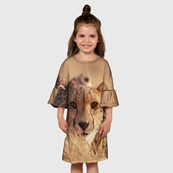 Платье клеш для девочки Гепард в траве цвета 3D — фото 2
