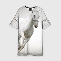 Платье клеш для девочки Белый конь цвета 3D — фото 1