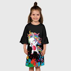 Платье клеш для девочки Малыш-единорог цвета 3D-принт — фото 2