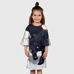 Платье клеш для девочки Как приручить дракона цвета 3D-принт — фото 2