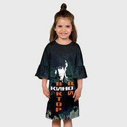 Платье клеш для девочки Виктор Цой цвета 3D-принт — фото 2