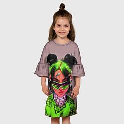 Платье клеш для девочки BILLIE EILISH цвета 3D-принт — фото 2