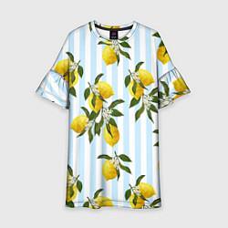 Платье клеш для девочки Лимоны цвета 3D — фото 1