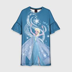 Платье клеш для девочки Принцесса Эльза цвета 3D-принт — фото 1