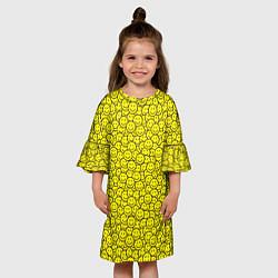 Платье клеш для девочки Смайлики цвета 3D — фото 2