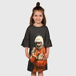 Платье клеш для девочки Гагарин с лайкой цвета 3D — фото 2