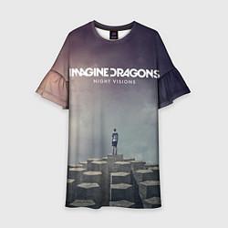Платье клеш для девочки Imagine Dragons: Night Visions цвета 3D-принт — фото 1