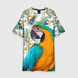 Платье клеш для девочки Летний попугай цвета 3D-принт — фото 1