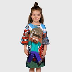 Платье клеш для девочки Minecraft Man цвета 3D — фото 2