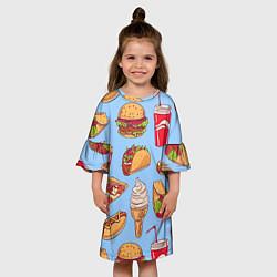 Платье клеш для девочки Еда цвета 3D — фото 2