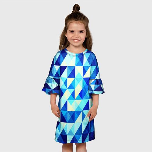 Детское платье Синяя геометрия / 3D – фото 3