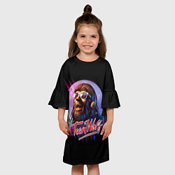Платье клеш для девочки Teen Wolf: Retro цвета 3D-принт — фото 2