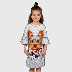 Платье клеш для девочки Йоркширский терьер цвета 3D — фото 2