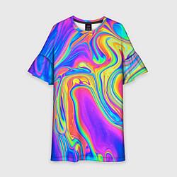 Платье клеш для девочки Цветные разводы цвета 3D-принт — фото 1