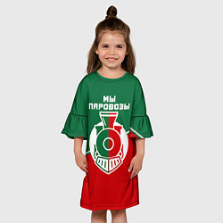 Платье клеш для девочки Мы паровозы цвета 3D — фото 2