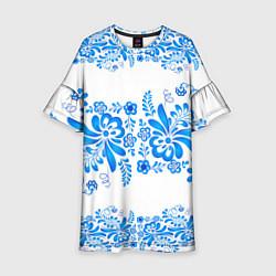 Платье клеш для девочки Гжель цвета 3D — фото 1