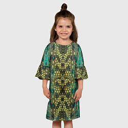Платье клеш для девочки Крокодил цвета 3D-принт — фото 2