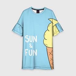 Платье клеш для девочки Sun & Fun цвета 3D — фото 1