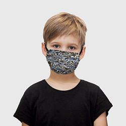 Маска для лица детская Камуфляж зимний: болотный/синий цвета 3D — фото 1