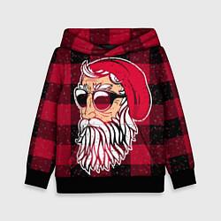 Толстовка-худи детская Санта хипстер цвета 3D-черный — фото 1