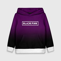Толстовка-худи детская Black Pink: Violet Gradient цвета 3D-белый — фото 1