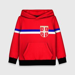 Толстовка-худи детская Сборная Сербии цвета 3D-черный — фото 1