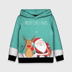 Толстовка-худи детская Merry Christmas цвета 3D-черный — фото 1