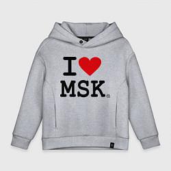 Толстовка оверсайз детская I love MSK цвета меланж — фото 1