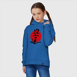 Толстовка оверсайз детская Kudo: Hieroglyph цвета синий — фото 2