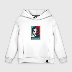 Толстовка оверсайз детская Lennon Imagine цвета белый — фото 1