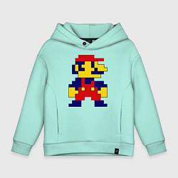 Толстовка оверсайз детская Pixel Mario цвета мятный — фото 1