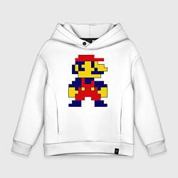 Толстовка оверсайз детская Pixel Mario цвета белый — фото 1