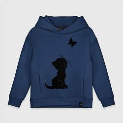 Толстовка оверсайз детская Котенок и бабочка цвета тёмно-синий — фото 1