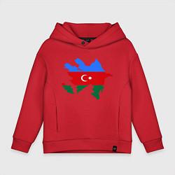 Толстовка оверсайз детская Azerbaijan map цвета красный — фото 1
