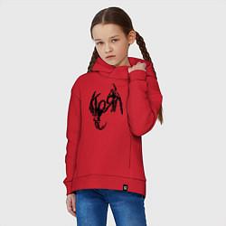 Толстовка оверсайз детская Korn bones цвета красный — фото 2