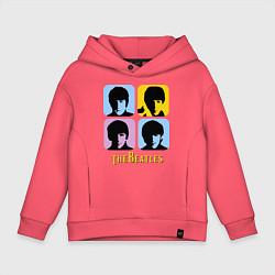 Толстовка оверсайз детская The Beatles: pop-art цвета коралловый — фото 1