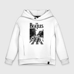 Толстовка оверсайз детская The Beatles: Mono Abbey Road цвета белый — фото 1