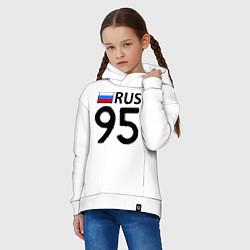 Толстовка оверсайз детская RUS 95 цвета белый — фото 2