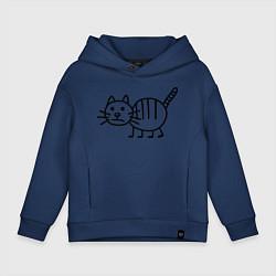 Толстовка оверсайз детская Рисунок кота цвета тёмно-синий — фото 1