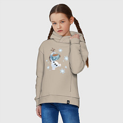 Толстовка оверсайз детская Веселый Олаф цвета миндальный — фото 2