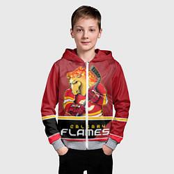 Толстовка на молнии детская Calgary Flames цвета 3D-меланж — фото 2