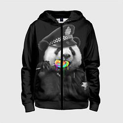 Толстовка на молнии детская Панда с карамелью цвета 3D-черный — фото 1