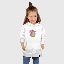 Толстовка детская хлопковая Совушка цвета белый — фото 2