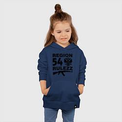 Толстовка детская хлопковая Region 54 Rulezz цвета тёмно-синий — фото 2