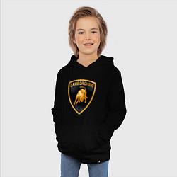 Детская хлопковая толстовка с принтом Lamborghini logo, цвет: черный, артикул: 10015739906029 — фото 2