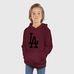 Толстовка детская хлопковая LA: Los Angeles цвета меланж-бордовый — фото 2
